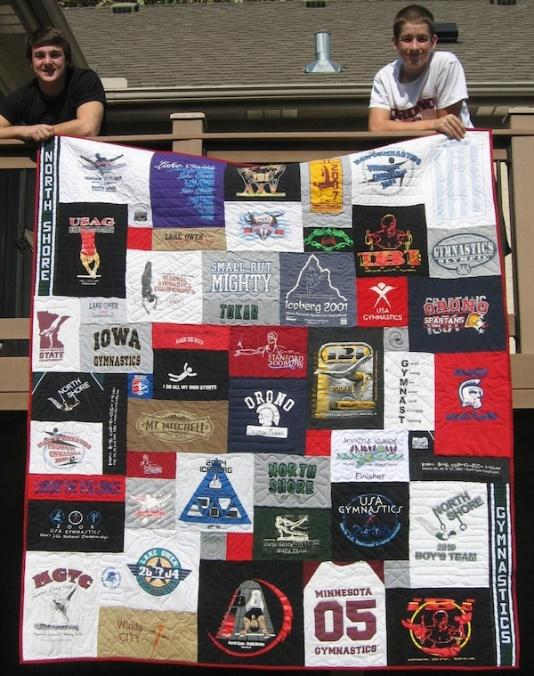 Sample quilt from a t shirt quilt company